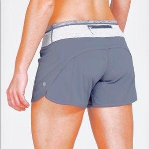 lululemon speed shorts grey/white waistband Size 4